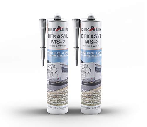 2 x Dekalin DEKAsyl MS 2 MS-Polymer Klebedichtmasse - Dichtungsmittel und Kleber in einem für Camper, Caravan, Wohnmobil 290 ml (weiß)