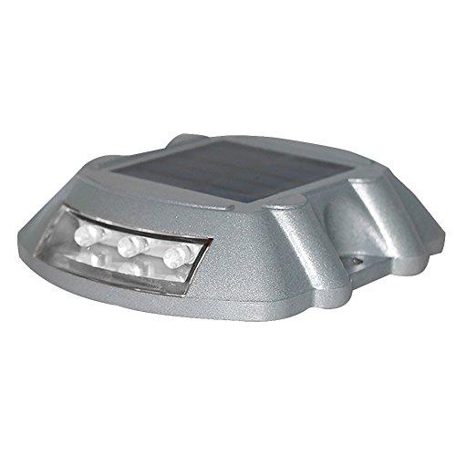 Luce Solare,Impermeabile Luce Solare da Esterno Road Stud segnapasso lampada Deck luci strada 3 LED Dusk to Dawn Dark On / Off alluminio super brillante