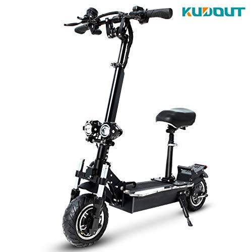 KUDOUT Patinete Eléctrico Scooter, 48V 24Ah Plegable con Manillar y Asiento Ajustable,3200W Velocidad máxima de 65 km/h,Scooter de conmutación de 10.5 Pulgadas con batería de Litio
