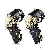 Rodilleras de Moto Equipo Protector de Ciclismo A Prueba de Viento Anti Choques Protección de Rodilla Protector de Rodilla de Motocross para Esquí Carreras, 1 Par,Yellow