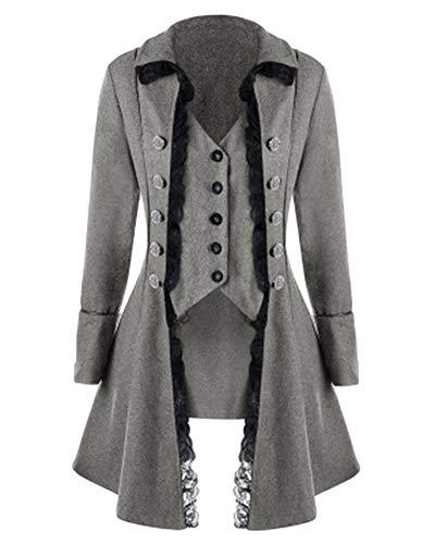 LiangZhu Damen Jacken Mäntel Westen Steampunk Gothic Samt Retro Button Trenchcoat Vintage Unregelmäßige Frack Oberbekleidung Gehrock Uniform Grau S