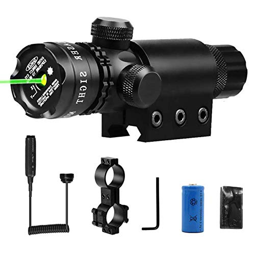 Kqiang Tactical Gun Laser Light Green Dot Laser Sight 532nm Rifle Scope with 20mm Picatinny Mount and 1