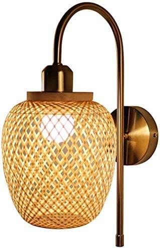 Terreno de Mimbre Natural Linterna Linterna Vintage Rattan Light Bamboo Bar Restaurante Canciones Lámpara de bambú, E27,1
