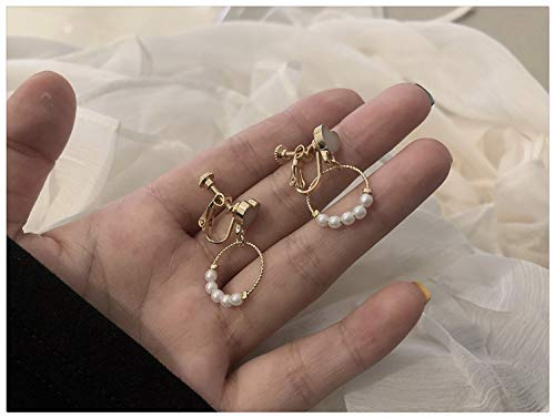 Mbdyvv Bianco Pesca Cuore Carino Orecchini mostrano Orecchini Sottili Orecchini Coreani Design Piccoli Orecchini per la Ragazza Fresca Perla Clip