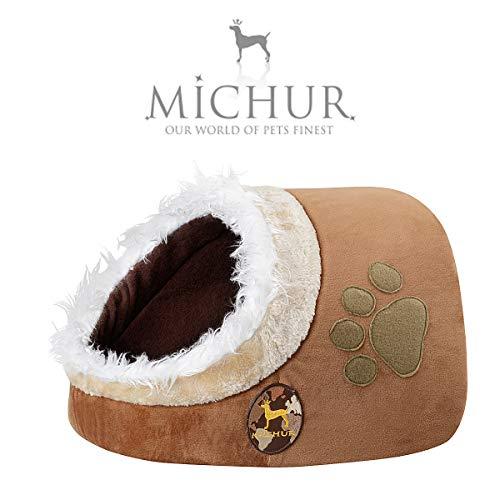 Michur Katzenhöhle & Hundehöhle Leo, waschbare Kuschelhöhle für Katzen und Hunde in edlem braun, für kleine Hunde und Katzen, 43 x 34 x 27 cm