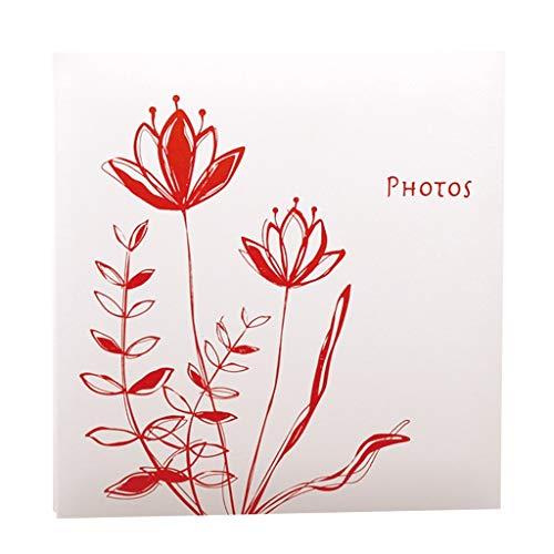 FREIHE Fotoalbum DIY Hand-Einfügen-Album (Lotus-Muster), 20 Blätter (40 Seiten) Weiße Seiten, Familien-Paaralbum, Home Storage Platzierte Fotos Liebe im Tourismus (Farbe: Rot)