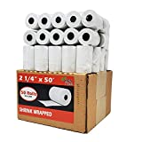 BuyRegisterRolls Paper tape size 2.25 or 2 1/4 x 50 feet thermal paper tape rolls / receipt paper for credit card machine like square printer | clover flex mini paper | verifone vx | chase credit card