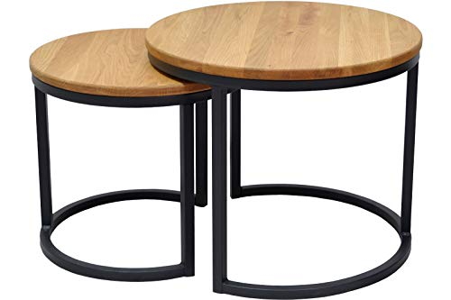 SAM Couchtisch 2er Set Chloe, Wildeiche massiv + geölt, runde Sofatische mit schwarzem Metallgestell, 50 cm & 40 cm, Industrial-Design