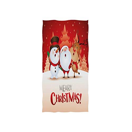Mnsruu Handtuch mit Weihnachtsmotiv, Schneemann, Rentier, Weihnachtsmann, weich, für Bad, Hotel & Wellness, 76 x 38 cm