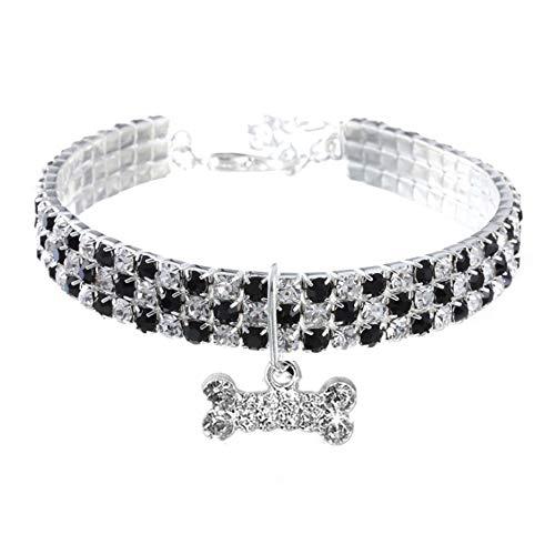 RayMinsino Pet Collar with Diamonds, Adjustable Crystal Diamond Elastic Bone Pendant Wedding cat and Dog Small pet Necklace Jewelry, Black, L