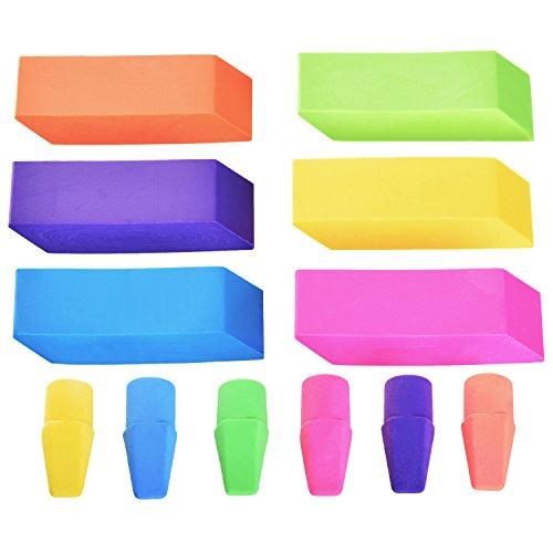 Emraw 6 Assorted Neon Color Pencil Bevel Eraser Rubber & Cap Top Set – Colors Included: Pink, Orange, Yellow, Green, Purple & Blue (6 Eraser & 6 Cap – 12-Pack)