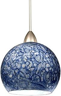 WAC Lighting MP-599-BL/BN Rhea 1-Light 12V MonoPoint Pendant with Blue Art Glass Shade, Brushed Nickel Finish