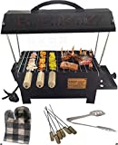 Berz Indoor/Outdoor Electric/Charcoal (2In1) Barbeque Grill with Tong,Glove,6 Skewers