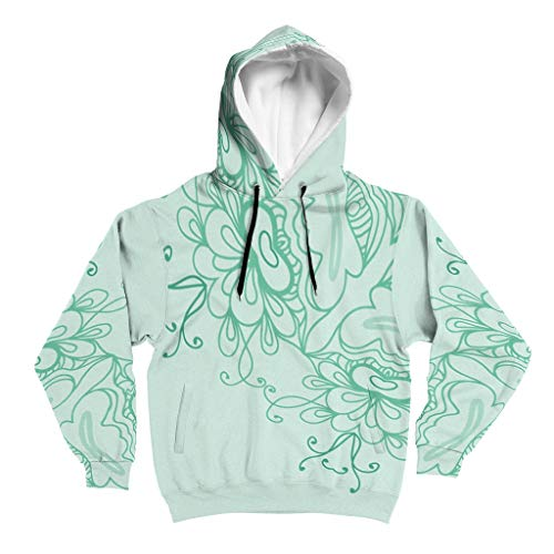 O2ECH-8 MediumAquamarine Mandala Muster Männlich Hoodies Teens Mode - Kordelzughut Weich & Gemütlich Trainingsjacke White l