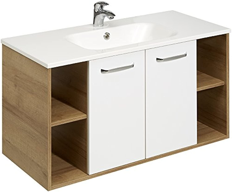 Pelipal 362 Rovato Waschtischlsung, Holzdekor, Riviera Eiche Quer Nachbildung, 46,0 x 101,0 x 54,6 cm