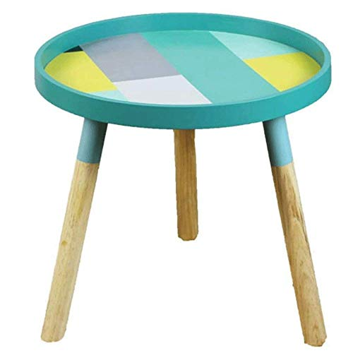 N/Z Daily Equipment Nightstand Side End Table for Living Room/Bedroom Side Table Wooden Small Round Side Table Modern Sofa Lamp Tea End Tables Coffee Table for Living Room Home Office Blue