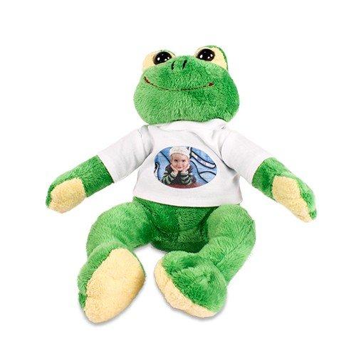 Plüsch Frosch 'Paddy' mit individuell bedrucktem T-Shirt - Foto Logo Bild Sitzhöhe ca. 190 mm mit bedruckbarem Shirt mit Wunschmotiv