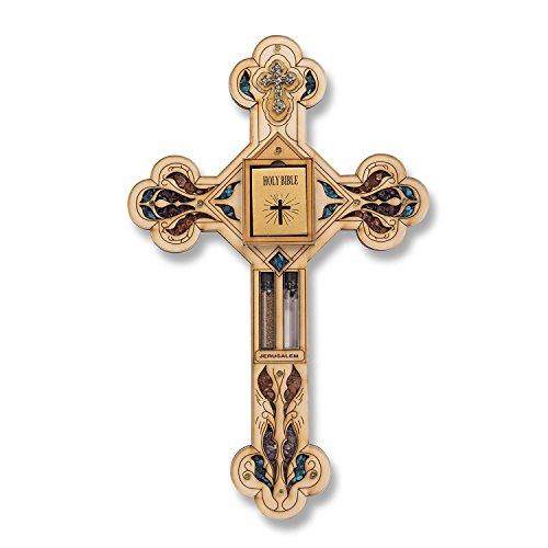 29cm Madera Cruz Jesus Christ Santa Biblia Sagrada Agua Tierra Colgante de Pared Regalo