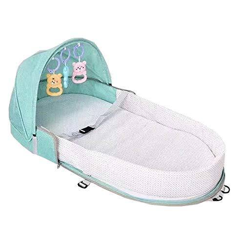 Berço Cama portátil com brinquedos e mosquiteiro para bebê dormir dobrável - verde