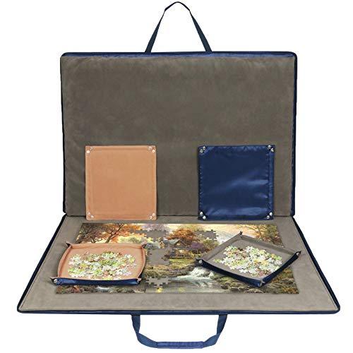 LAVIEVERT Oxford Gewebe Puzzlebrett Puzzleunterlage Puzzlematte Puzzlerolle Aufbewahrungrolle Teppich für bis zu 1500 Teile Puzzle leicht & tragbar ( 92.5 × 67cm Saphirblau)