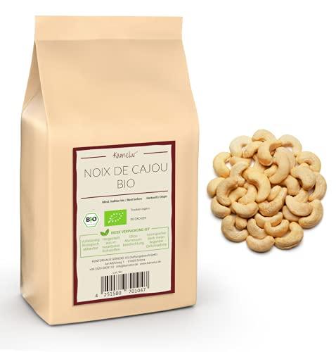 Noix de cajou BIO 1kg naturelles et crues- Noix de cajou sans sel entière Noix Cajou non traitées et sans additifs issues d'une agriculture biologique certifiée
