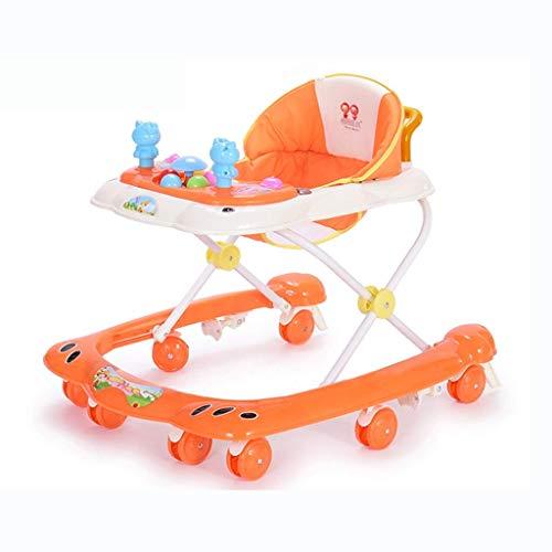 Bebé Niño Niños Walker, 6-18 Meses Tipo U First Steps Empuje antivuelco multifunción Frenos silenciosa 6 Velocidad de Ajuste Anti-bebé O-Leg,Naranja