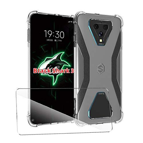 SCDMY Hülle Für Xiaomi Black Shark 3 Cover + HD Schutzfolie, Vier Eckenverdickung Weiche Soft Silikon Handyhülle Schutzhülle Transparente Anti-Scratch Stoßfest TPU Bumper Hülle Cover