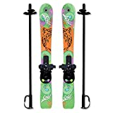 Sola Winnter Sports Kid's Beginner Snow Skis and Poles with Bindings Age 2-4 (Tiger) (Renewed)