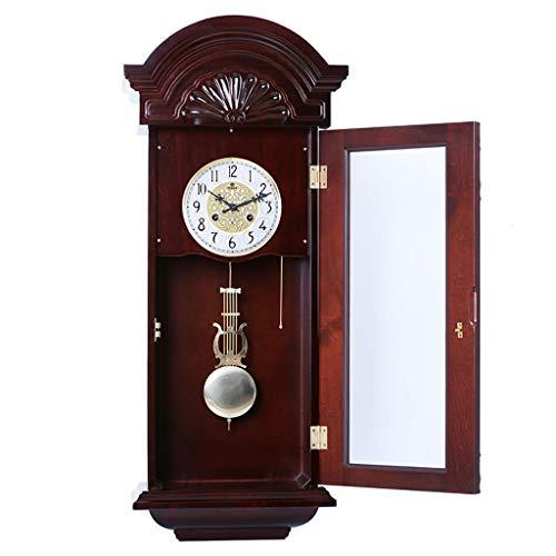 HLDBW wandklok met slinger, antiek, vintage stijl, elegante decoratie voor thuis, op kantoor, in de kamer, binnen, hoge muur, tabletop decoratie