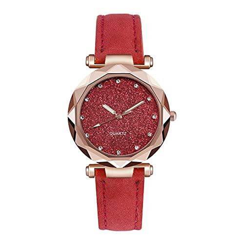 AHURGND Relojes de Mujer Rosa Dorado Reloj, Relojes de Acero Inoxidable de Rose Quart para Mujeres, Reloj de Cristal, Resistente al Agua, Relojes Modernos. (Color : Rojo)