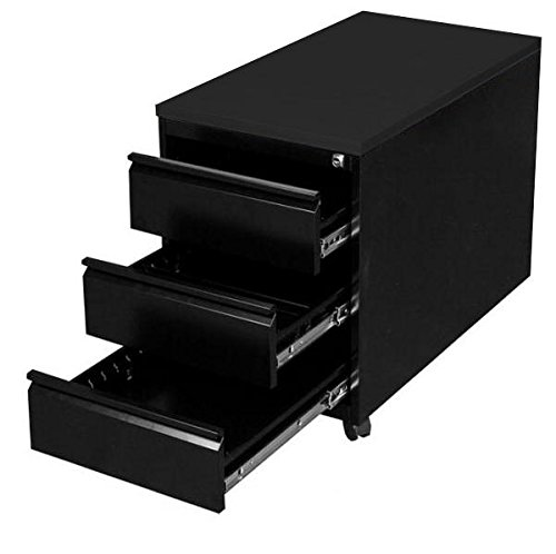 Profi Stahl Büro Rollcontainer Bürocontainer schwarz Maße: 620 x 460 x 800 mm (Höhe x Breite x Tiefe) 505316 kompl. montiert und verschweißt