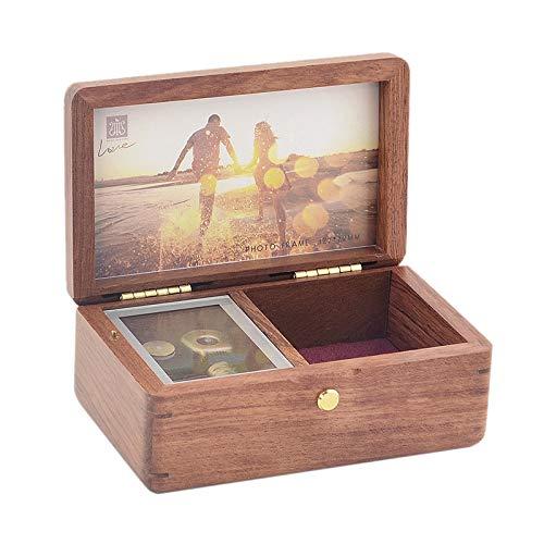 Sinzyoシリンダーオルゴール 木製 フォトフレームミュージックボックス 敬老の日 記念品 お誕生日 バースデー プレゼント ギフト 母の日 (ローズウッド 曲:天空の城ラピュタ)