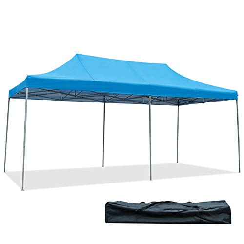 Tangkula 10' X20' Carport Tent Pop Up, Commercial Instant Canopy with Tent Peg, Waterproof Wedding Canopy with Wind Rope, Outdoor Shelter Pavilion for Parties Camping, Gazebo with Carry Bag (Blue)