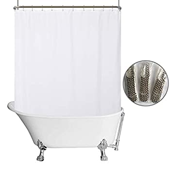 Waterproof Fabric Clawfoot Tub Shower Curtain 180 x 70 inch All Wrap Around 36 Hooks Included Breathable Fabric Machine Washable White 180x70
