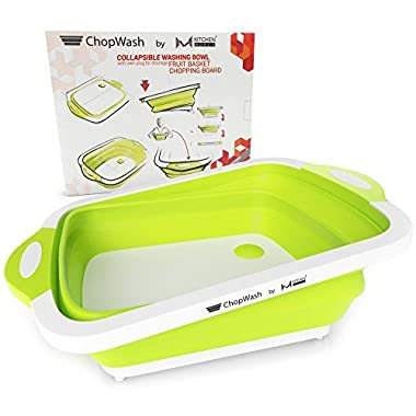 ChopWash by M KITCHEN WORLD Collapsible Dish Tub | Cutting Board | Chopping & Slicing | Washing Bowl with Own Plug for Drainage | Easy Storage | 3 in 1 Multipurpose Multifunctional Kitchen Gadget