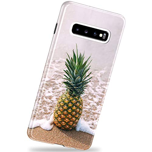 VIVIBIN Samsung Galaxy S10 Case,Pineapple on Beach,Anti-Scratch Slim Fit Silicone TPU Cover with Clear Bumper Protective Phone Case for Samsung Galaxy S10 6.1 inch 2019