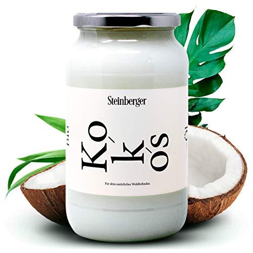 Natives Bio Kokosöl von Steinberger | Zum Kochen, Braten und Backen | Coconut oil 500ml Kaltgepresst