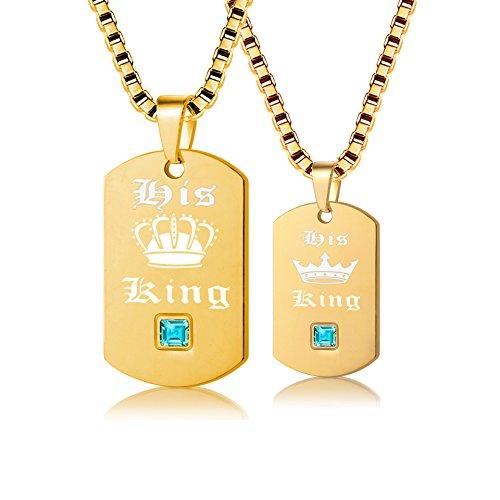 Uloveido 2 Piezas Collares de Orgullo Gay para Hombres y Mujeres - Etiqueta de Perro Cadena de Acero Inoxidable de Titanio de Oro Collares de Cadena con dijes Colgantes His King SN127