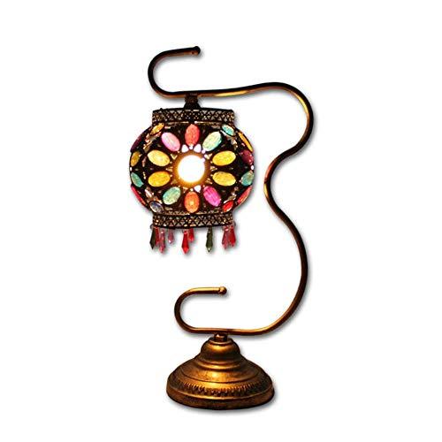 MQJ Lámpara de Mesa de Cristal de Cuello de Cuello Hecho a Mano, Lámpara de Mesita de Mesa de Mosaico Marroquí Turca Luz de Noche de Noche con Base de Bronce (Multicolor),Regulador de Intensidad