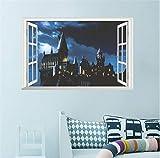 Rureng 3D Ventana Mágica Castillo Etiqueta De La Pared Calcomanía Harry Potter Paisaje Pvc Tatuajes De Pared Poster Arte Mural Decoración Para El Hogar