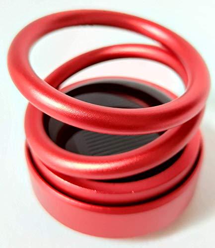 SFASTER Decora difusor de aroma, solar auto-rotante, material de aleación de aluminio de cuerpo completo, efecto visual de anillo doble suspendido, presión de liberación, (rojo)