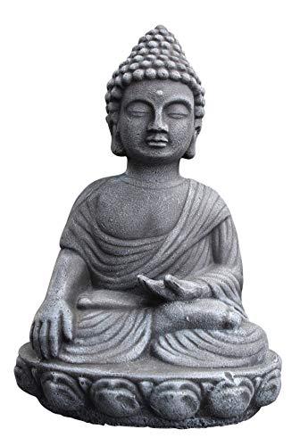 Buddha Figur - Schiefergrau, Deko Statue frostsicher und wetterbeständig für Haus und Garten, Steinfigur