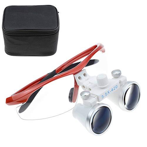 TopSeller歯科 拡大鏡 双眼ルーペ メガネ式拡大鏡 3.5倍拡大鏡 420mm 光学拡大鏡 光学ルーペ 虫眼鏡 軽量 デンタル用 実験室用 研究用ルーペ 技工用 収納ボックス付き ケース付き 携帯便利 (レッド)
