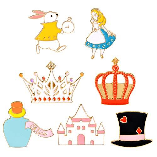 DreamJing 14 broches creativos para cuellos de goteo, insignias de aceite de goteo de dibujos animados, regalo de cumpleaos para nias, accesorios de ropa de gato, taza de caf, conejo, corona)
