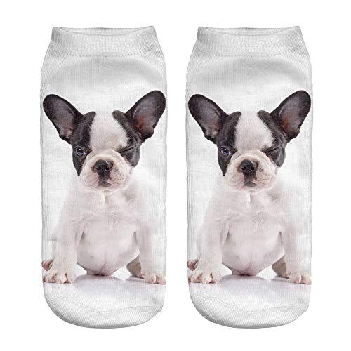 TWIFER Calcetines Cortos Invisibles para Unisex,3D Dog Printed Calcetines Casuales de Tobillo de corte bajo,Calcetines cortos Transpirables para Equipos Deportivos al aire Libre