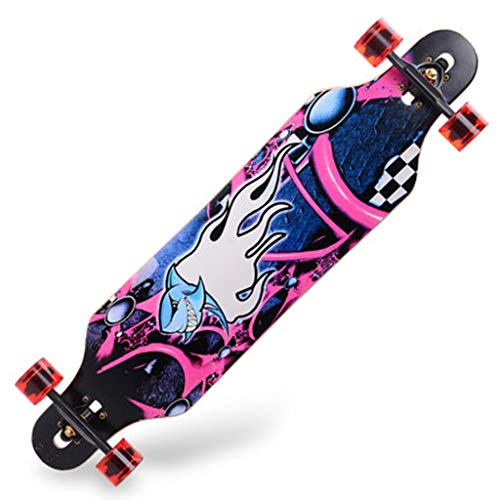 Longboards Cool Shark Skateboard Boy Skateboard Longboard Street Dance Skateboard Beginners Skateboard Stoer Maple Super Loadbearing (Color : Multi-colored, Size : 104 * 24.5 * 11cm)