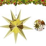 Estrella de Papel Decorativo,30cm Papel Estrellas decoración de Navidad,Estrellas decorativas para papel,Estrella de papel de Navidad,Papel 3D diseño de estrella (dorado-1)
