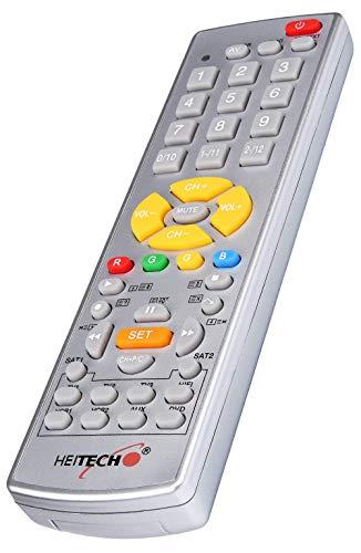 HEITECH Universal Fernbedienung für 10 Geräte - Unversalfernbedienung für TV, VCR, SAT, HiFi, DVD, AUX - Multifunktionsfernbedienung für viele Marken - Vorprogrammierte Fernbedienung mit Teletext