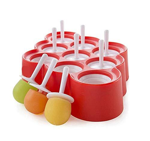 XSBBY Moule à Glace en Silicone sans BPA, Ensemble de 9 Mini-fers à glacer réutilisables for Boissons glacées au Chocolat for des collations au yogourt glacé pour Enfants et Les