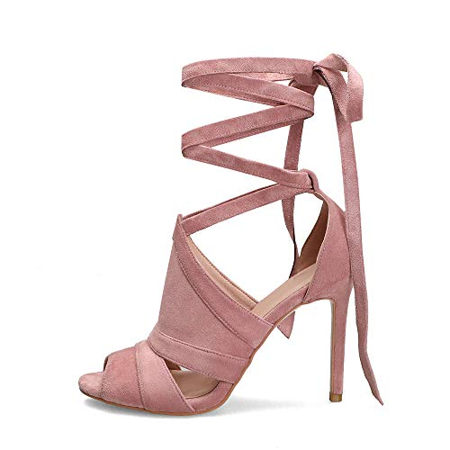 Hinyyrin Krawatte Schnür Stiefel High Heels, Damen Sandalen, Kreuz Verband Schuhe Rom High Heels (37 EU, Pink)